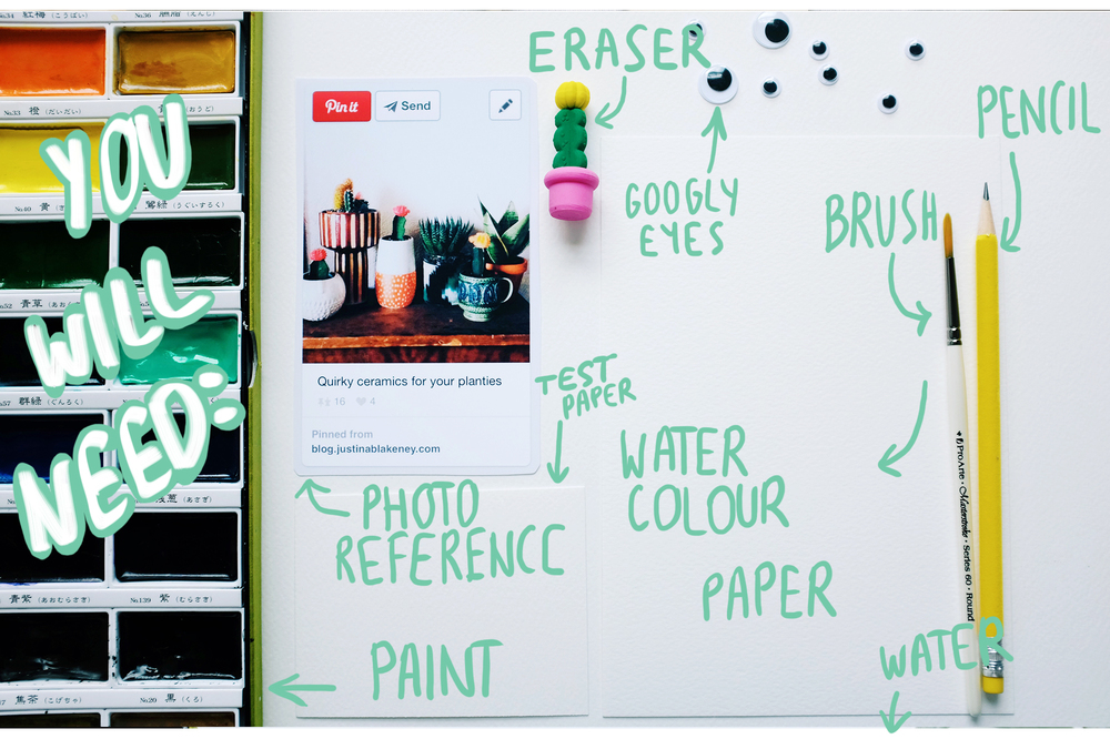 You will need:   Inspiration (photo or your own plant), pencil, eraser, paint, brush, paper, water.