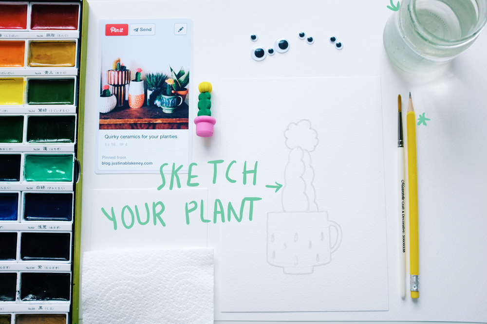 Sketch your plant lightly with pencil