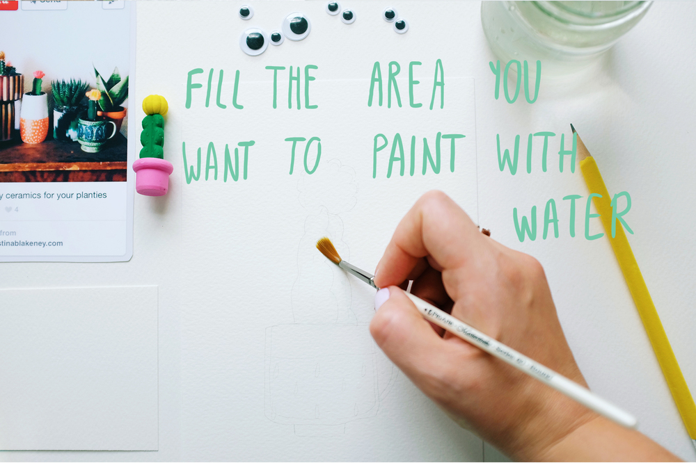 Cover the area you want to paint with water, it will give a lovely flow and unpredictable effect to the final piece.