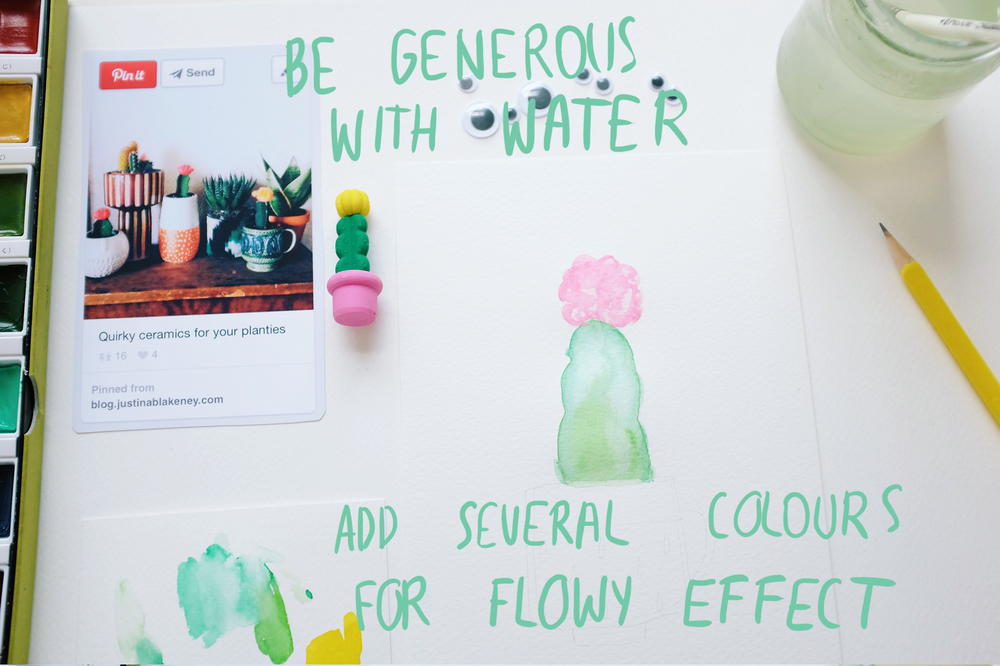 Be generous with water, it will give a fabulous looking flow effect. If you add more than one colour they will mix up and will look great when dry! Let your painting to dry and then you can add more colour if needed. Usually dry paint looks MUCH better than wet ;) Be patient!