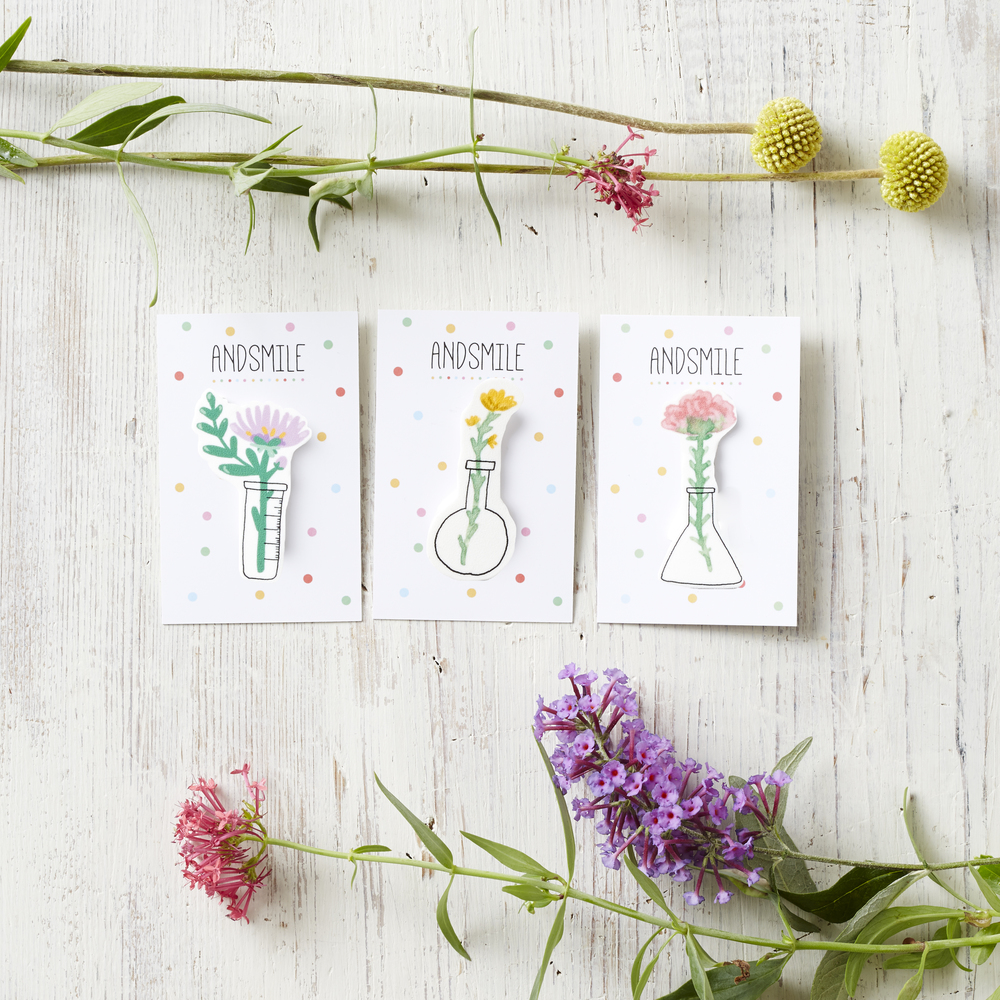 floral science brooches by andsmile