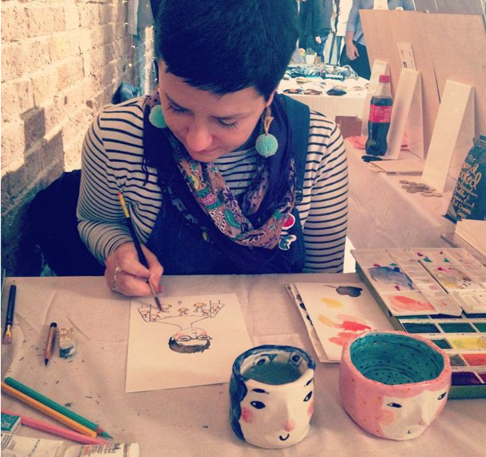 That's how it's going to look like, snapshot from portrait drawing at CraftyFox at Shoreditch, Kachette as part of London Design Festival)