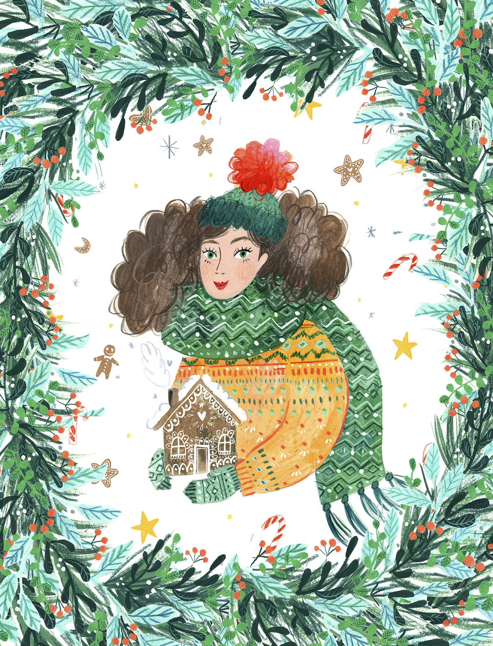 girl with gingerbread house and christmas wreath.jpg