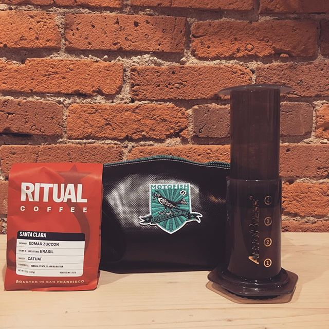 Avoid the rain and grab one of our #aeropress kits for awesome home coffee. These kits come with a bag of coffee, currently offering @ritualcoffee and @olympiacoffee