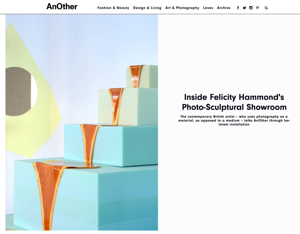 Feature in AnOther Magazine. Available at: http://www.anothermag.com/art-photography/8688/inside-felicity-hammonds-photo-sculptural-showroom
