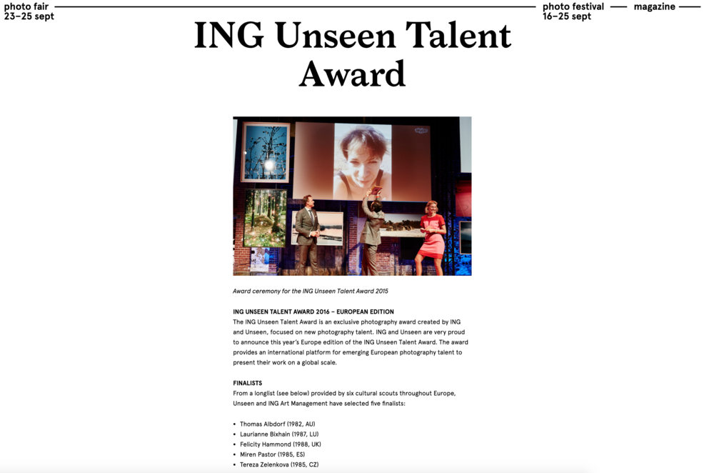 More information: https://www.unseenamsterdam.com/ing-unseen-talent-award Press release: https://www.unseenamsterdam.com/photo-fair/press