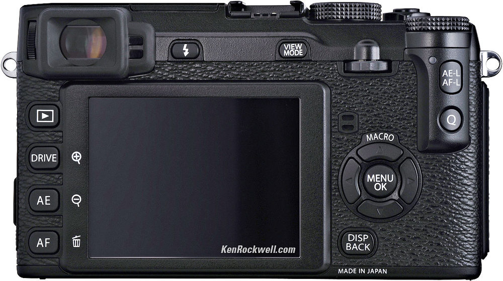 Back panel of the X-E1 courtesy of Ken Rockwell. The DISP BACK button must be held down while you power on to update the firmware once you have put the file onto an empty SD card