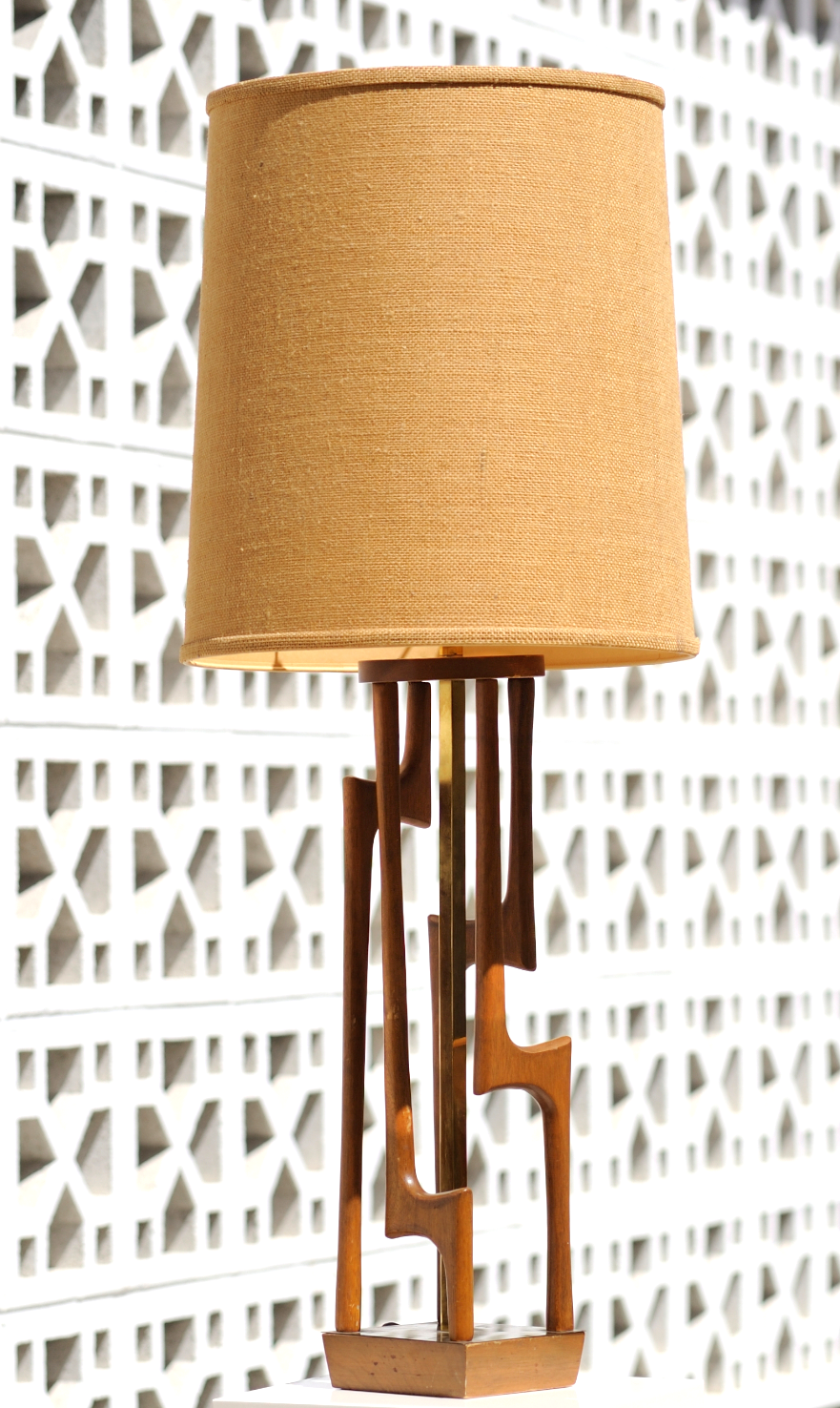 "Vintage Handmade Lamp Designer unknown Circa: 1955-1965? Wood with brass vertical rail Brass plate on top of base Base width: 6 X 6"" Height: 40 3/4"" with lamp shade Height: 37"" without lamp shade $500."