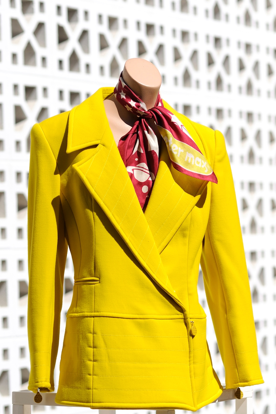 "State of Claude Montana Jacket Color: Acid yellow Lined Made in Italy Size: European 42/USA 8 $500. Peter Max Silk Scarf 20 1/4"" X 21"" Colors: burgundy, white with acid yellow logo. Made in Japan $100."