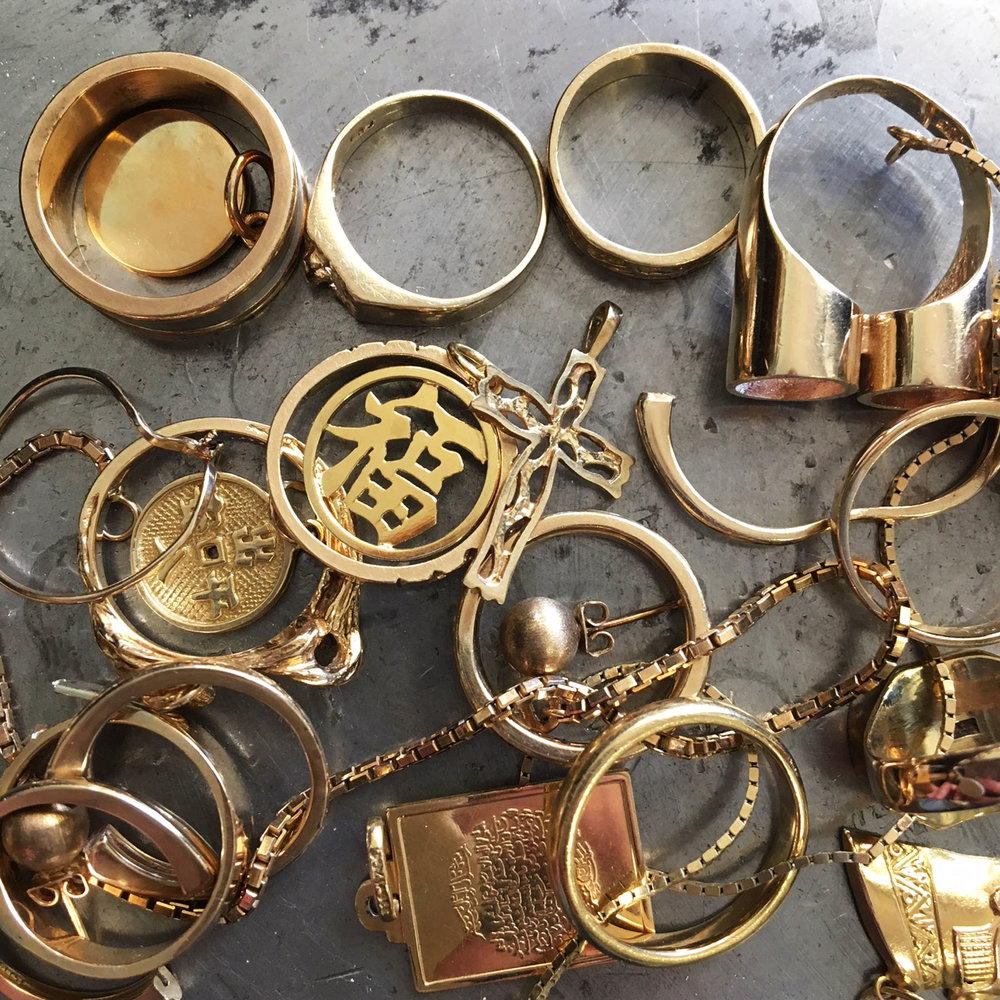 A customers collection of old jewelry not worn anymore