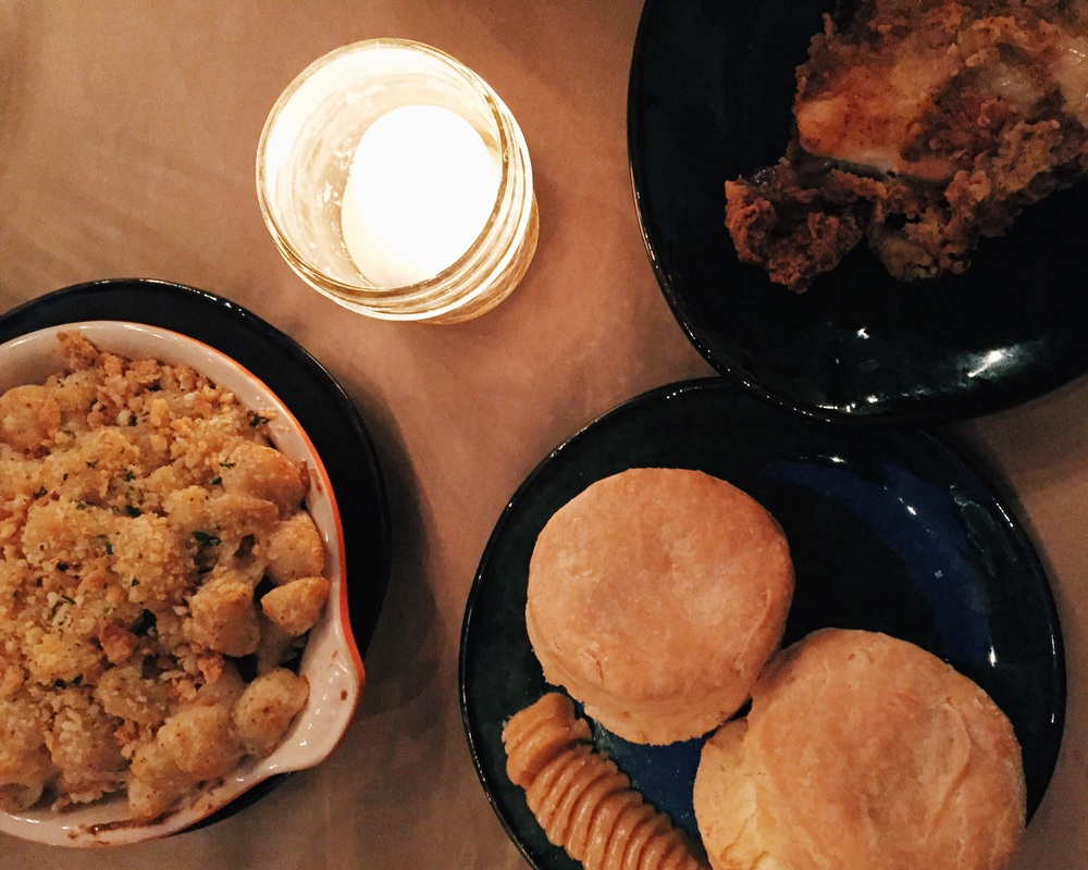 Mac and cheese, biscuits, and perfectly fried chicken!