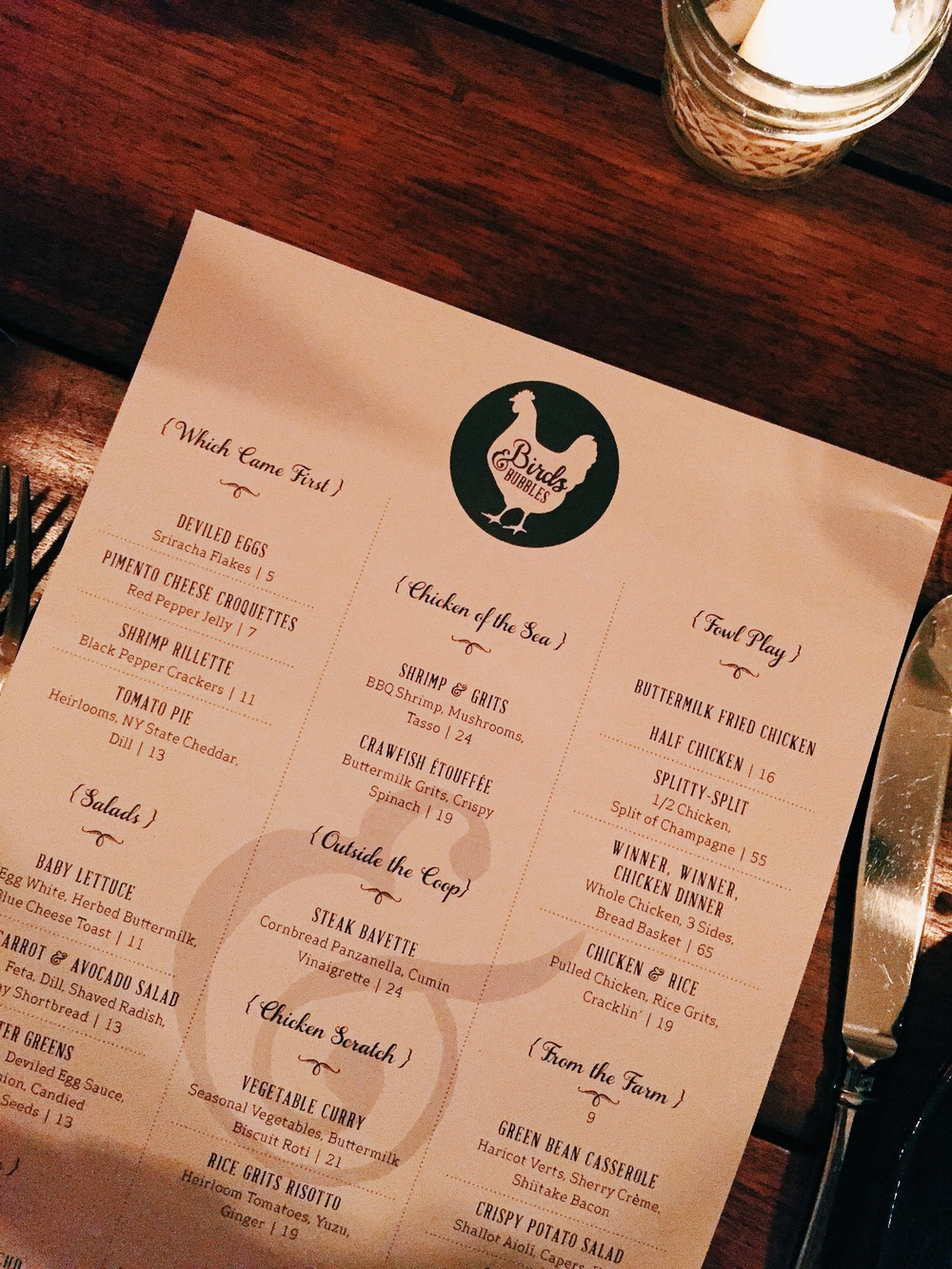 A peek at the food menu