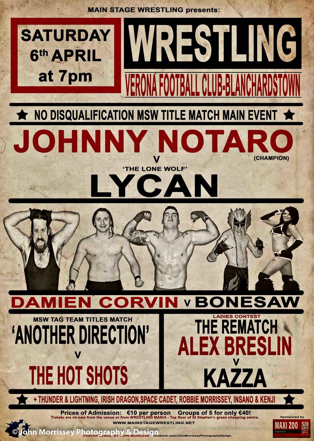 Main Stage Wrestling Vintage Show Poster.