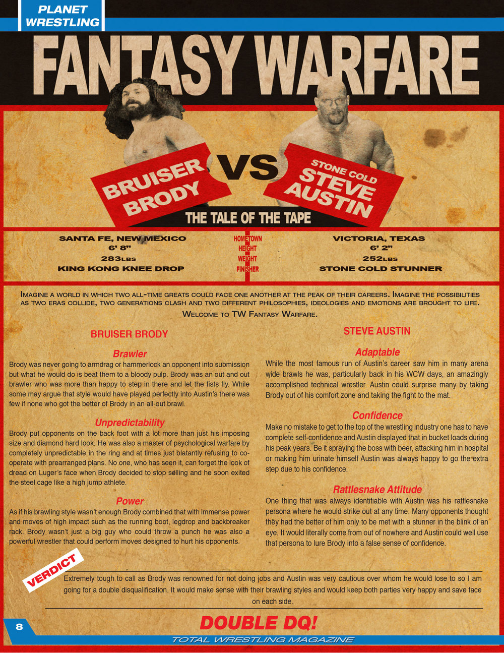 Total Wrestling Magazine Fantasy Warfare feature.