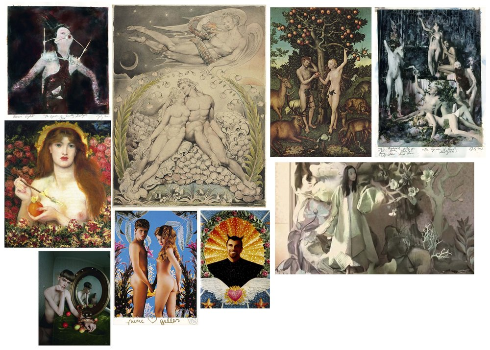 This was my moodboard. Clockwise from top left: Paulina Otylie Surys, William Blake, Lucas Cranach the Elder, Paulina Otylie Surys, Tim Walker, Pierre et Gilles, Pierre et Gilles, Tim Walker, Dante Gabriel Rossetti.