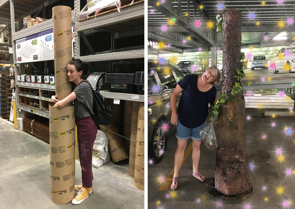 Left: Me, a finals week trash baby, in Lowe's with the concrete tubes pre-tree magic.  Right: Mom with her masterpiece!!!!!! We decided to do the tree in two parts so that it would fit in my car.