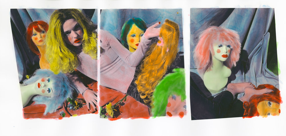Wig? Did You Just Say Wig? , large format panorama with hand painting, 2018.
