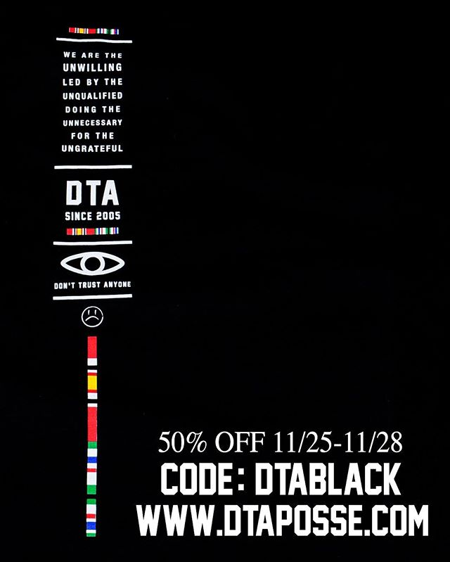 "Hit dtaposse.com now through Monday and save 50% off with code ""dtablack"". #Sale #DTAposse #Steals"