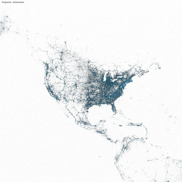 Image of North America, entirely in Tweets, courtesy of Twitter Visual Insights: https://blog.twitter.com/2013/the-geography-of-tweets