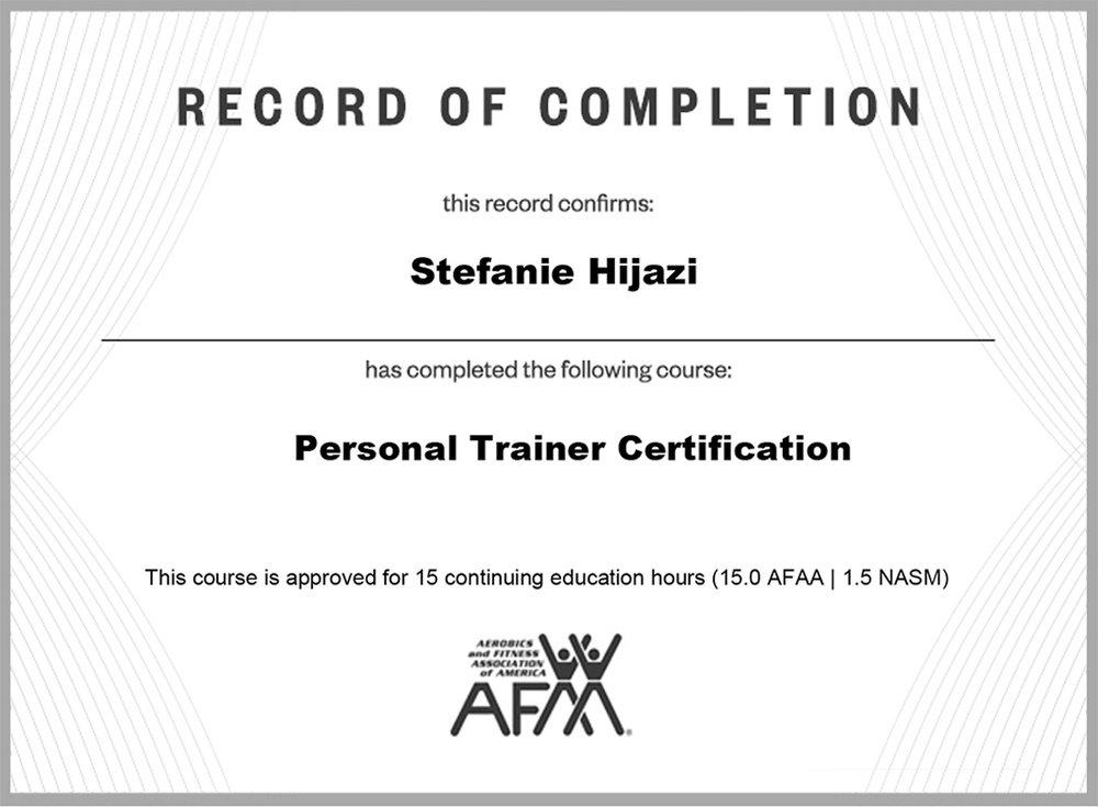 Personal Training Stefanie Hijazi