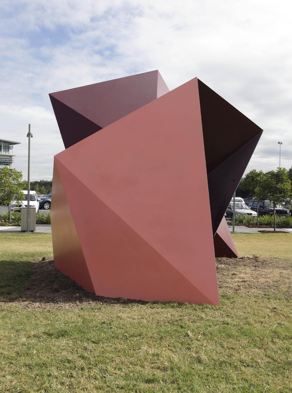 Synchro Adaptable (Peach/Red Oxide)  2010  Brisbane Airport, Brisbane Paint on aluminium 4.5 x 3 x 2.5m