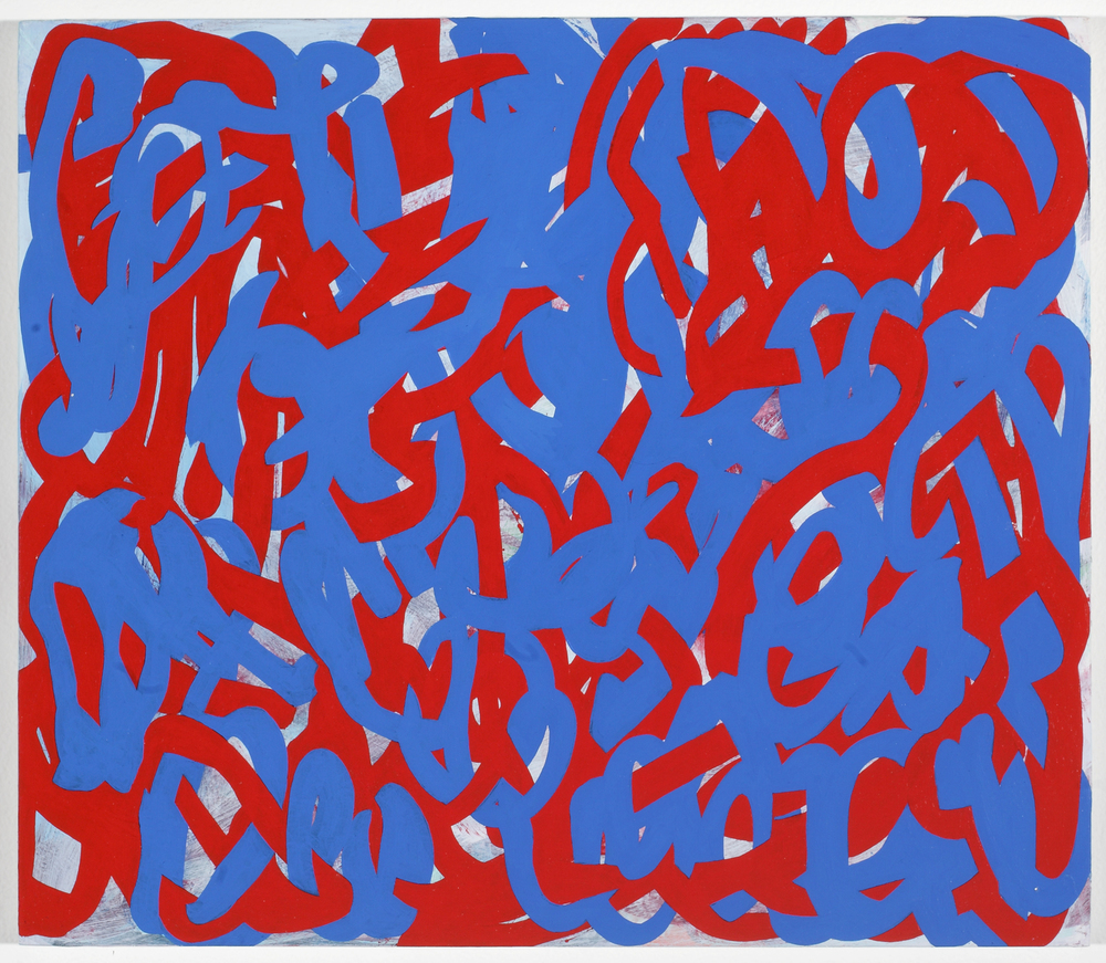 Tangle Painting (Red/Blue)  2010  Acrylic on board 39 x 45cm