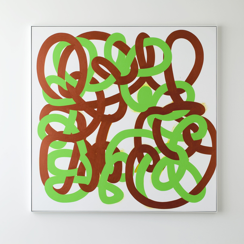 All In (Green/Bronze)   2013   Acrylic on linen   185 x 185cm