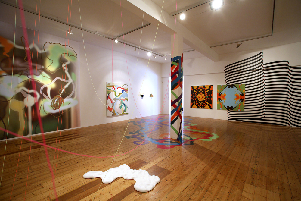 'Against the Amnesiac's Lifestyle Showroom'  2006  Gertrude Contemporary Art Spaces, Melbourne Installation view Painting and two sculptures on wall at centre