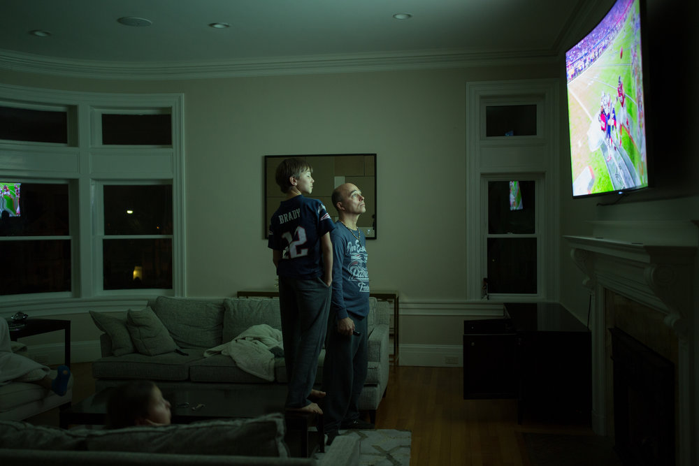 Tense moments watching the Super Bowl, a win for the Patriots!