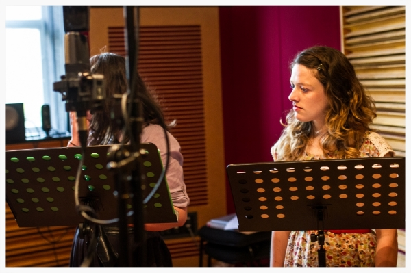 Claire Nicholls & Andi Snelling recording Virginia Woolf Radio Play, September 2014 (Open Cage Photography)