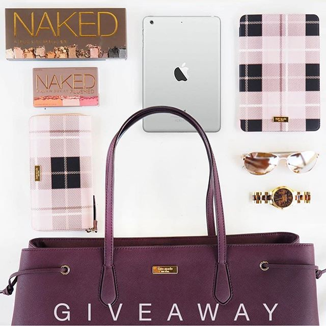 Go to next --  @sugarrose.co  GIVEAWAY TIME! One lucky follower will win this prize package which consists of a brand new iPad mini, Kate Spade tote bag, Kate Spade wallet, Kate Spade iPad mini case, Kate Spade sunglasses, Urban Decay NAKED palettes.  Open to international followers.  Follow these 3 steps to enter: (Follow, like, follow) 1. FOLLOW ME @jessicasheppard 2. LIKE this post. 3. FOLLOW @sugarrose.co 4. OPTIONAL: Comment with anything you wish in any of the sponsor's giveaway post for an extra entry!  Repeat the steps above in every photo until you make your way back here. You're not eligible to win if you don't complete the 3 steps above - follow-like-follow. All entries must be submitted by October 19.  Winner will be announced on October 25 or 26.  This is in no way sponsored, administered, or associated with Instagram, Inc. By entering, entrants confirm they are 18+ years of age, release Instagram of responsibility, and agree to Instagram's term of use. The logos shown in the photo belong to the respective brands and no copyright infringement is intended. Void where prohibited by law. No purchase necessary. Winner (international or local) will be responsible for shipping costs (no COD, no prepaid labels, no UPS or FedEx, just USPS). Recent giveaway winners (hosted by this group or others) within 300 days of this giveaway are not eligible to enter. Prizes must be claimed within 48 hours or they will be forfeited. Fake or Giveaway-Only accounts will be disqualified. Profile must be public to be eligible to win.  Marble cover is not included. Product boxes have been opened for giveaway photo purposes.