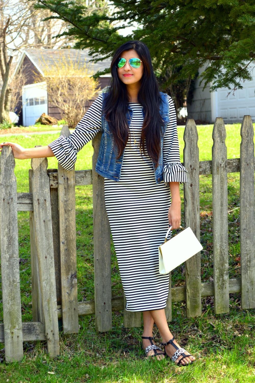 Striped Midi Dress 1
