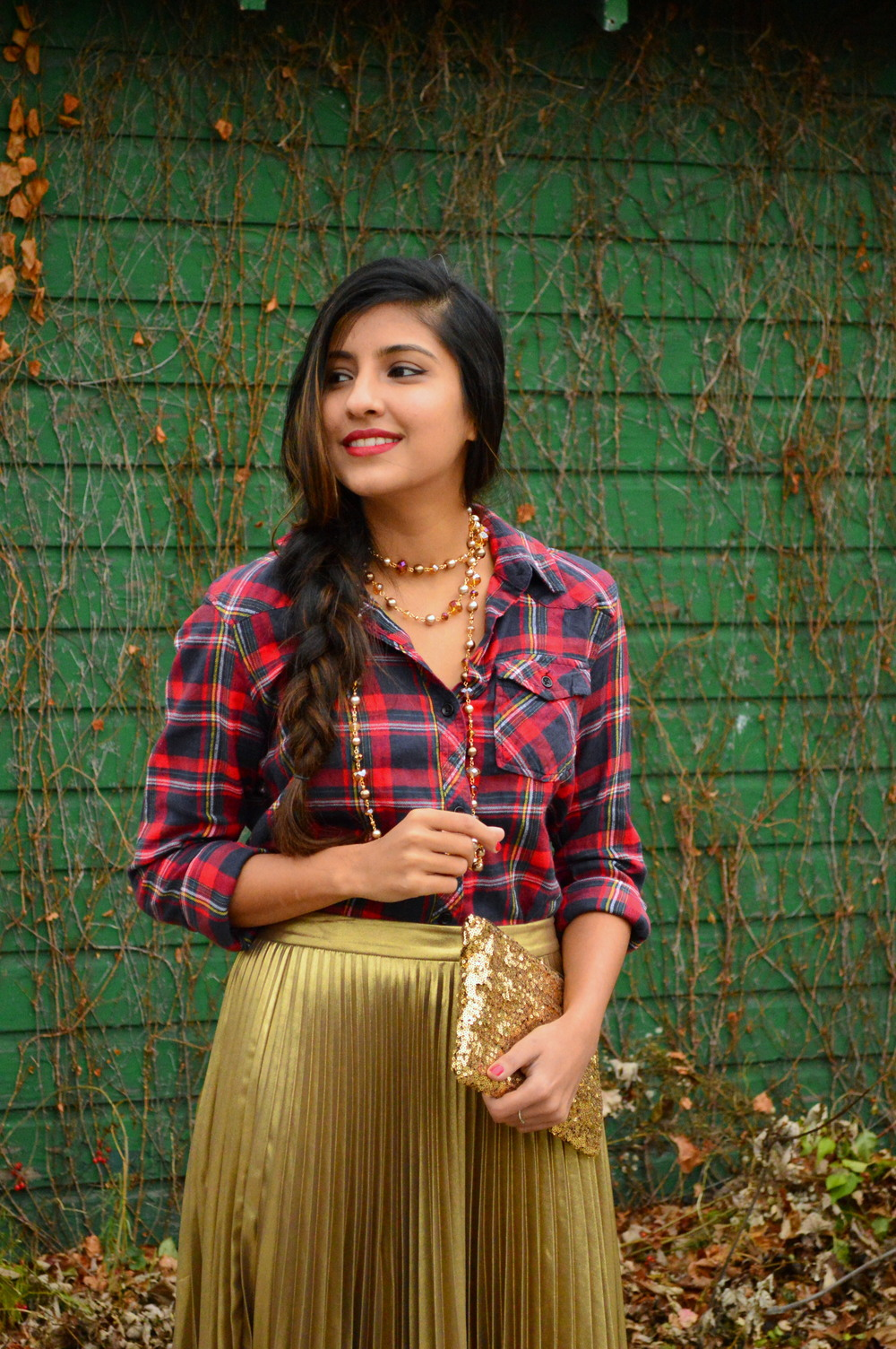 festive flannel and gold pleats 2