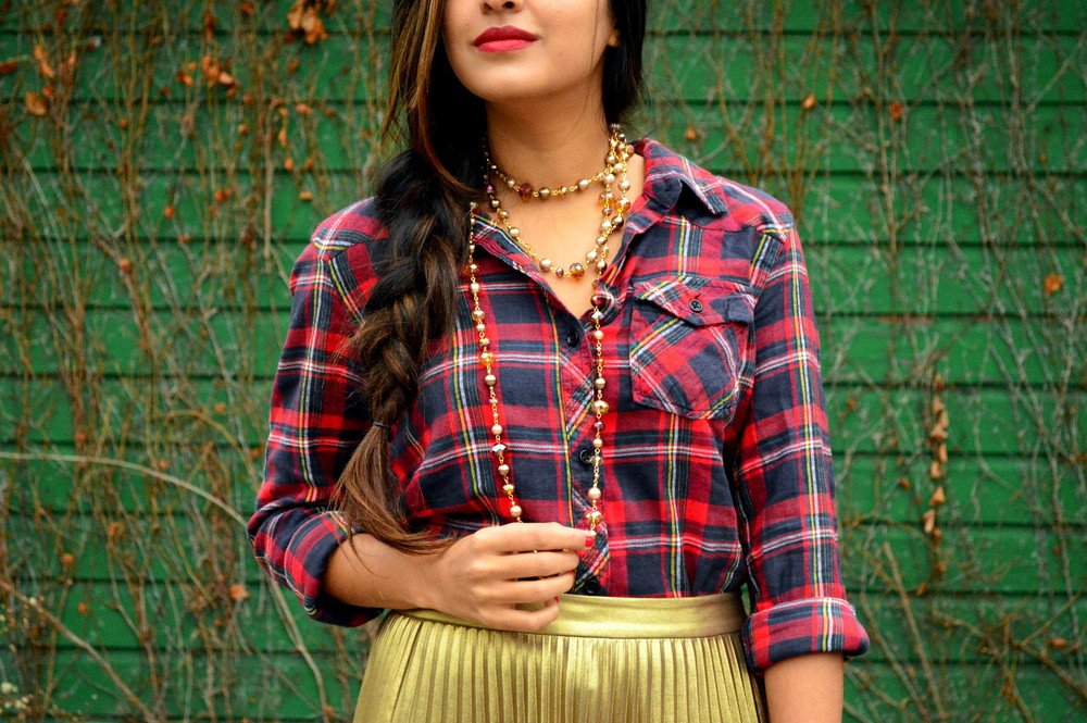 festive flannel and gold pleats 4