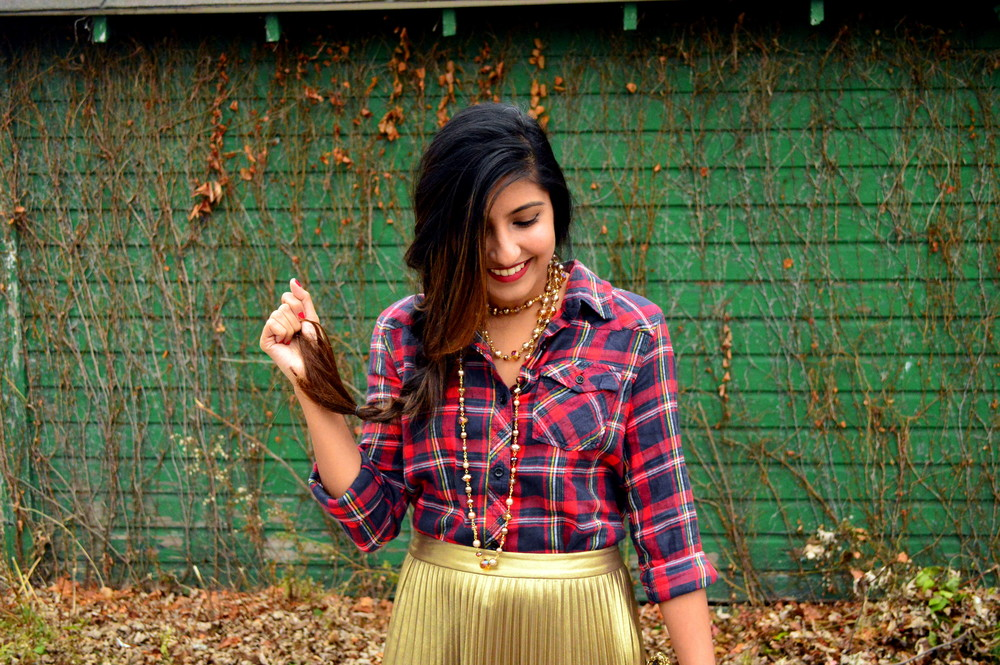 festive flannel and gold pleats 6