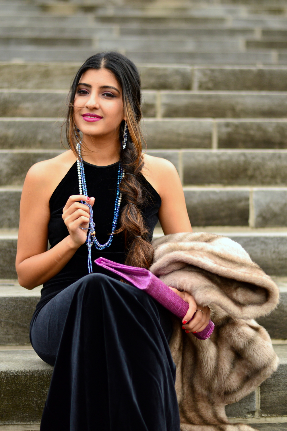 Black velvet maxi dress-NYE outfit 3