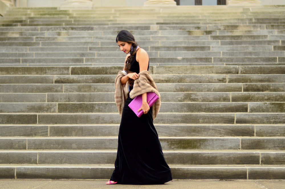 Black velvet maxi dress-NYE outfit 5