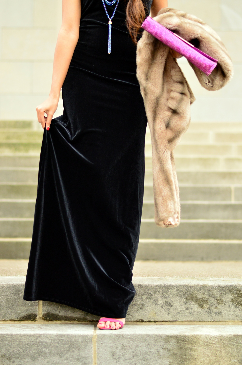 Black velvet maxi dress-NYE outfit 7