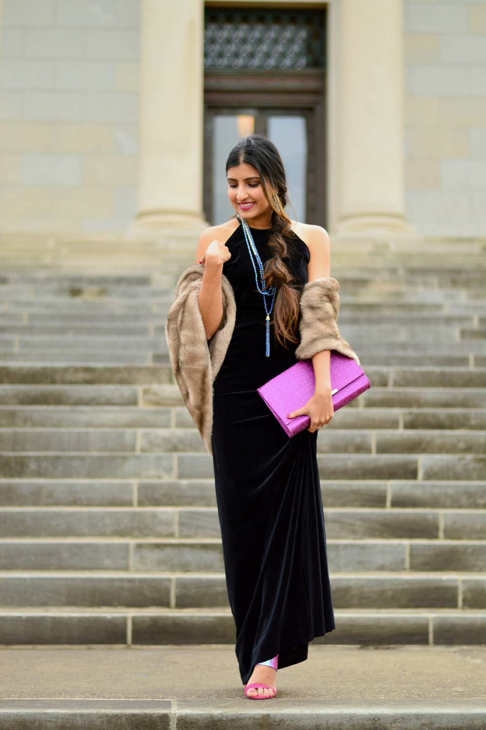 Black velvet maxi dress-NYE outfit 8