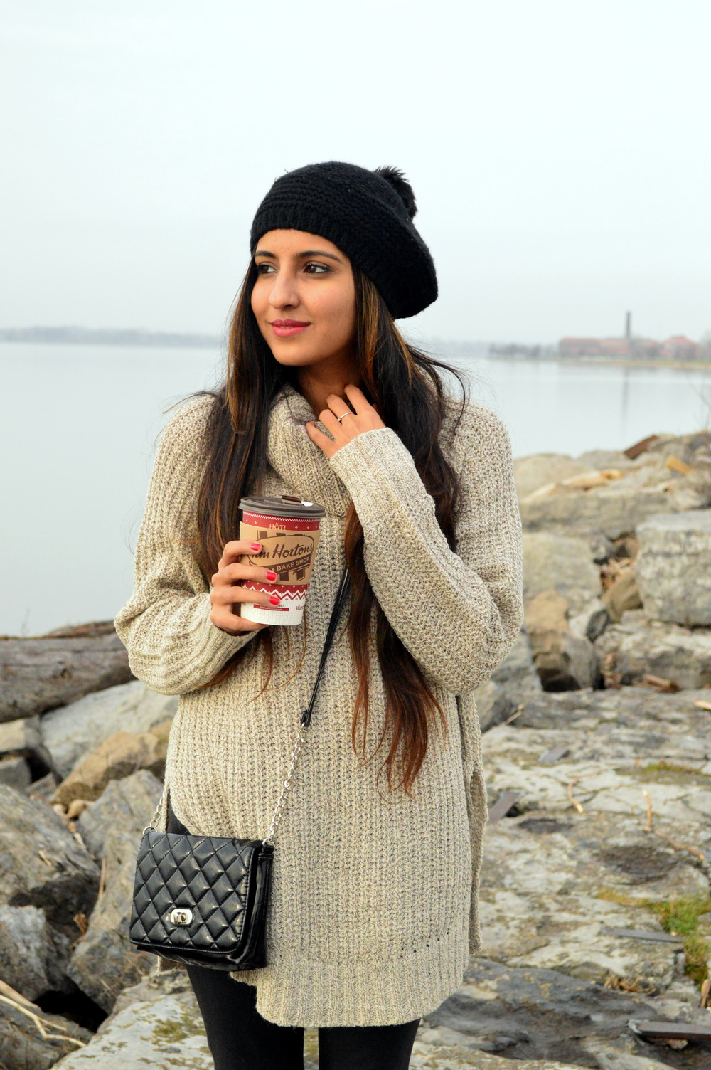 turtleneck sweater-casual weekend style-pom beanie 2