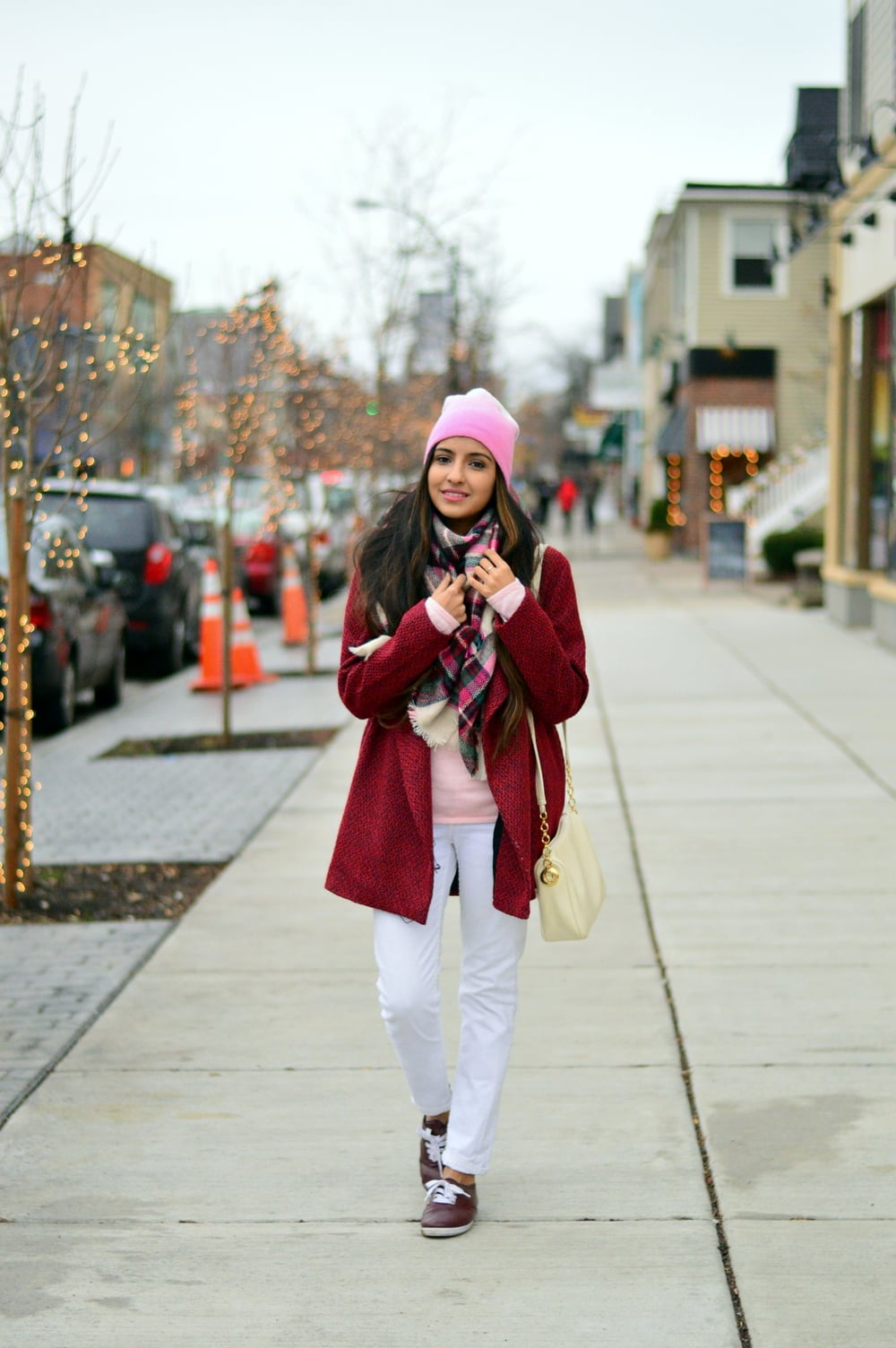 Plaid blanket scarf-pink and red-layers 1