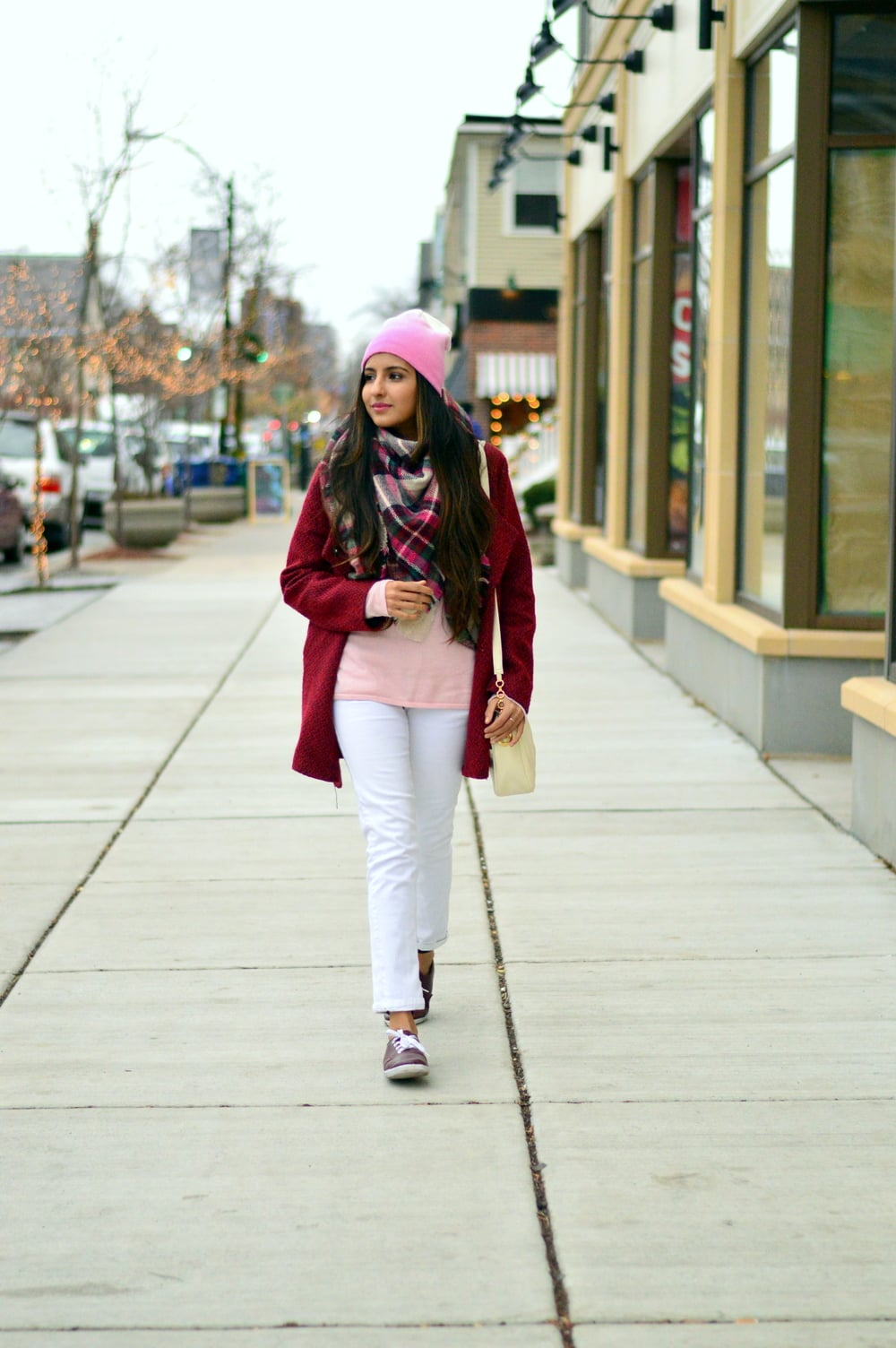 Plaid blanket scarf-pink and red-layers 3