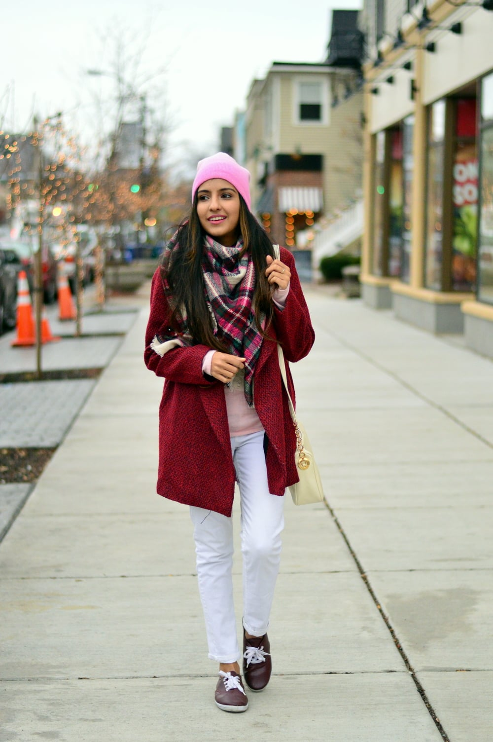 Plaid blanket scarf-pink and red-layers 5