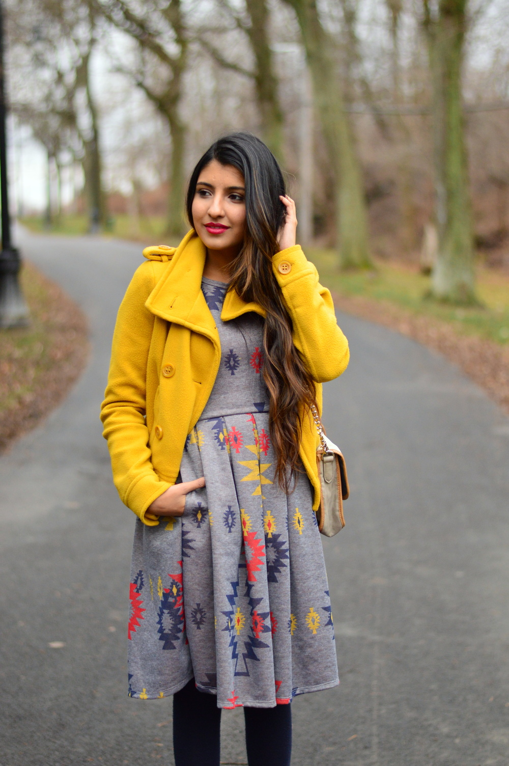 Pleated Dress-Gray and Yellow 2