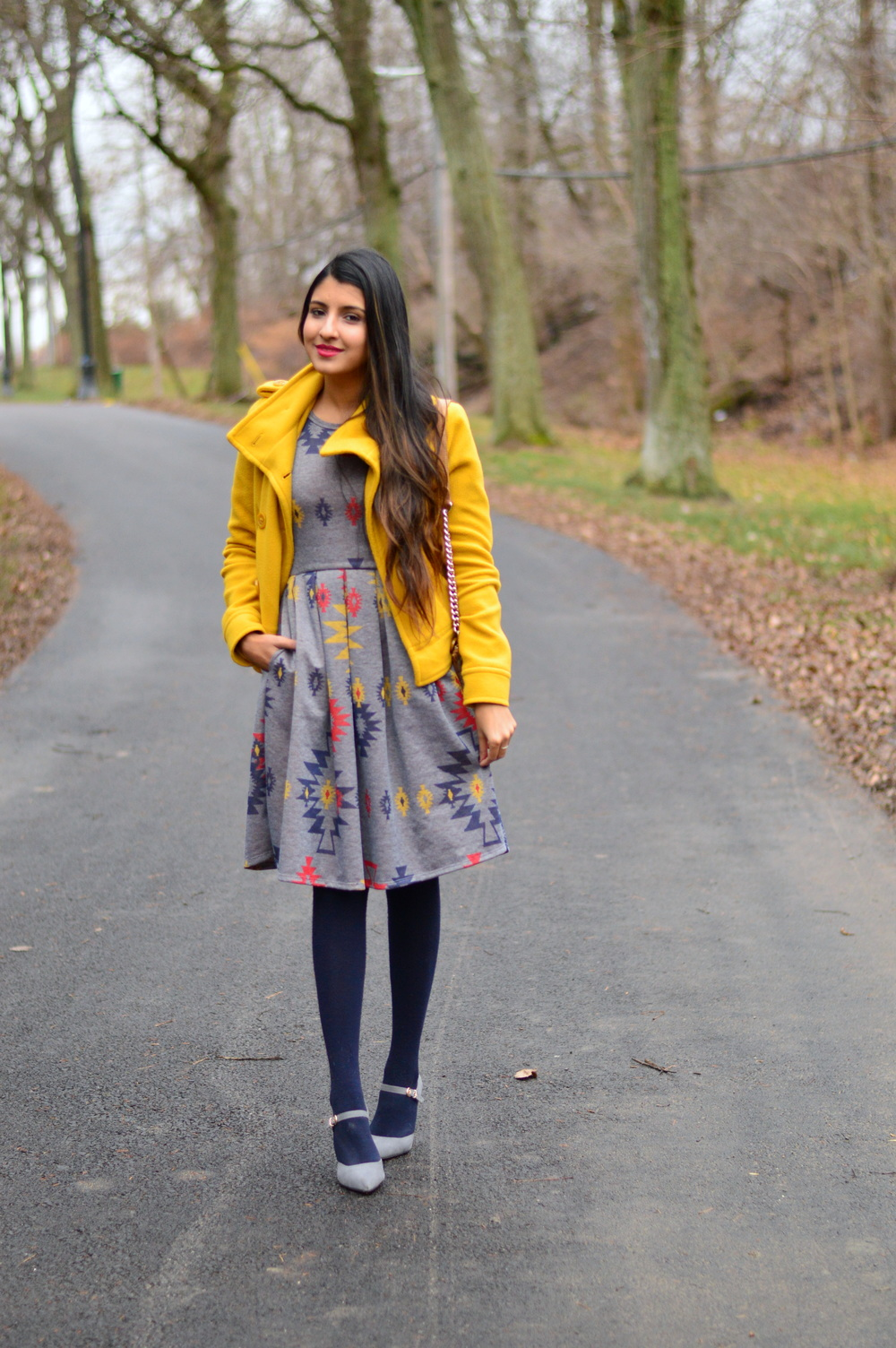 Pleated Dress-Gray and Yellow 3