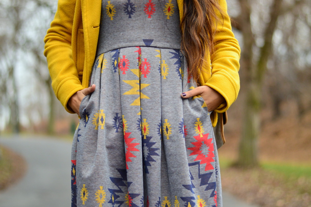 Pleated Dress-Gray and Yellow 4