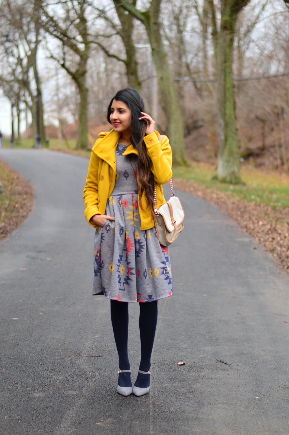 Pleated Dress-Gray and Yellow 5