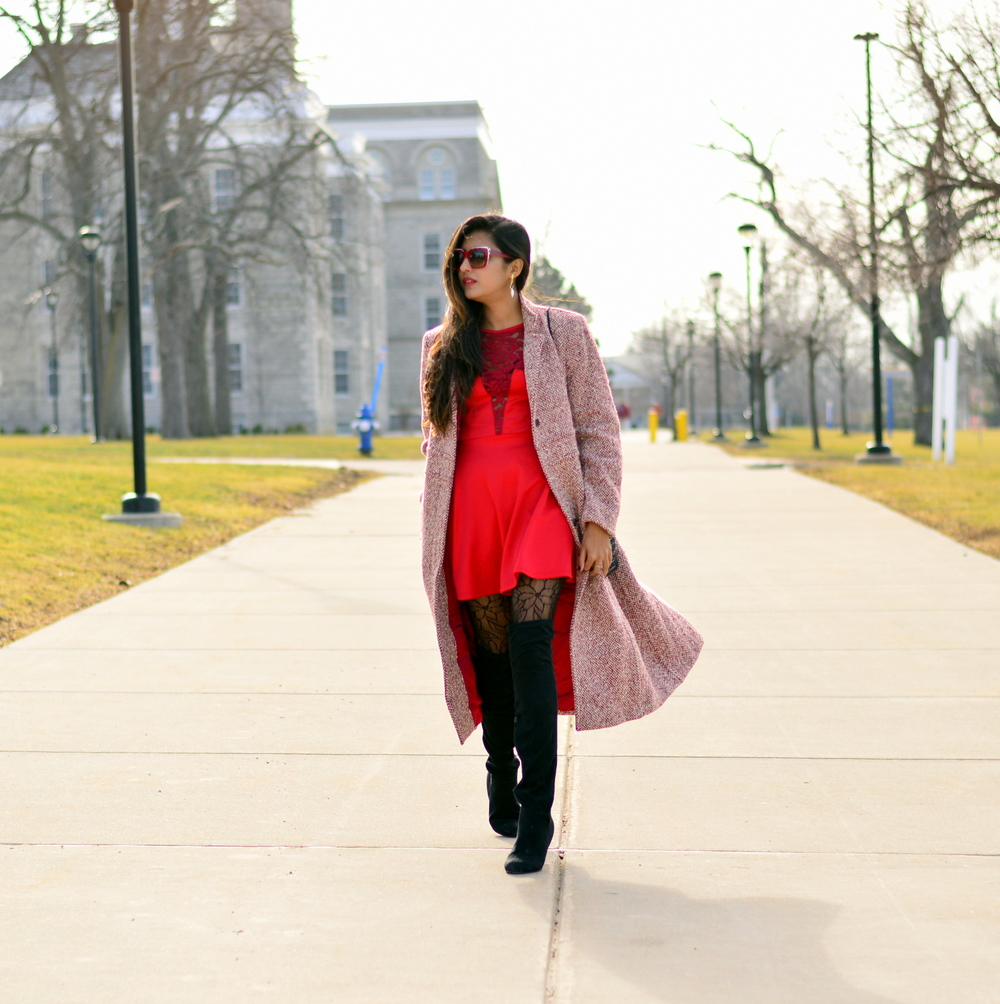 Little red dress-Valentine Day look 1