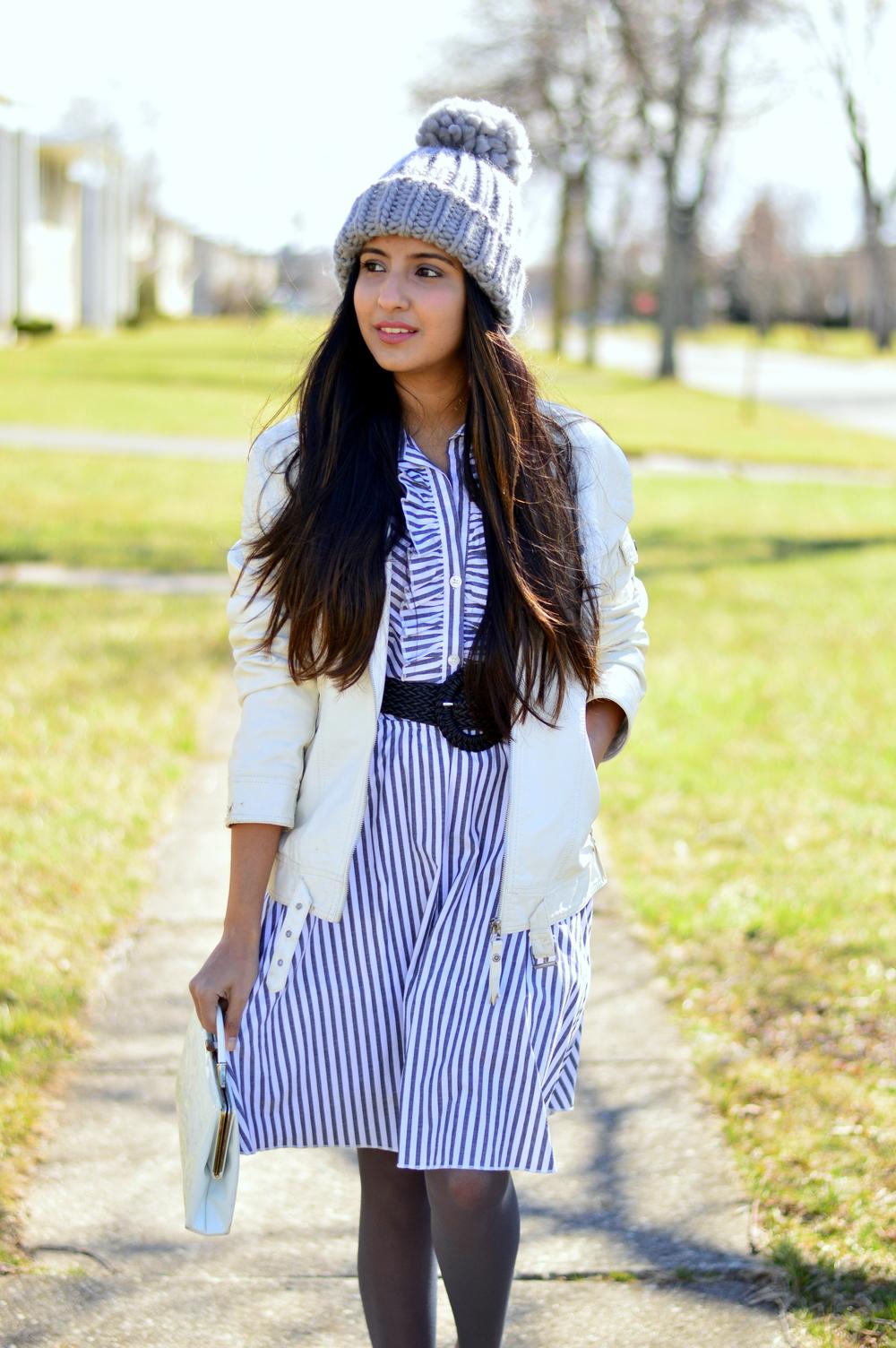 striped-shirtdress-pom-beanie-leather-jacket 2