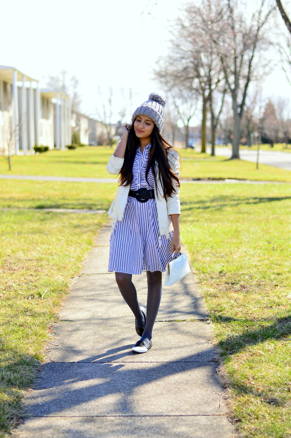 how-to-style-striped-shirtdress-pom-beanie 5